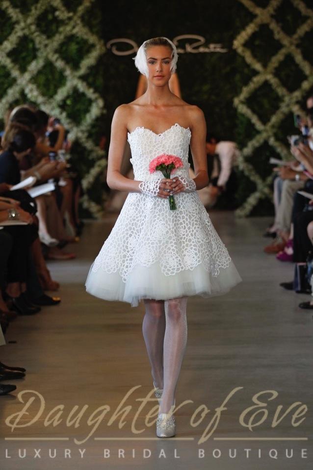 Oscar De La Renta ODLR short white cocktail bridal dress