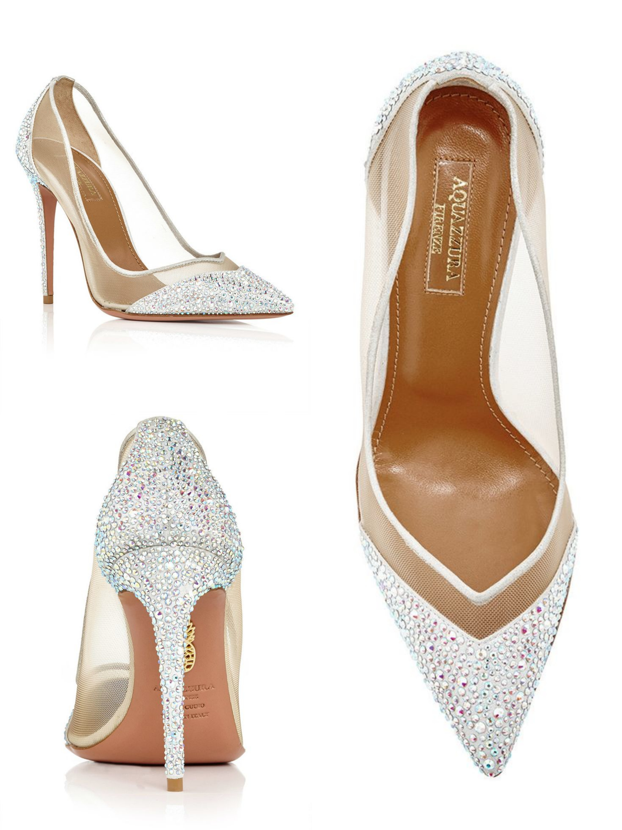 Aquazzura, Silver Nappa Leather Mesh Studded Pumps