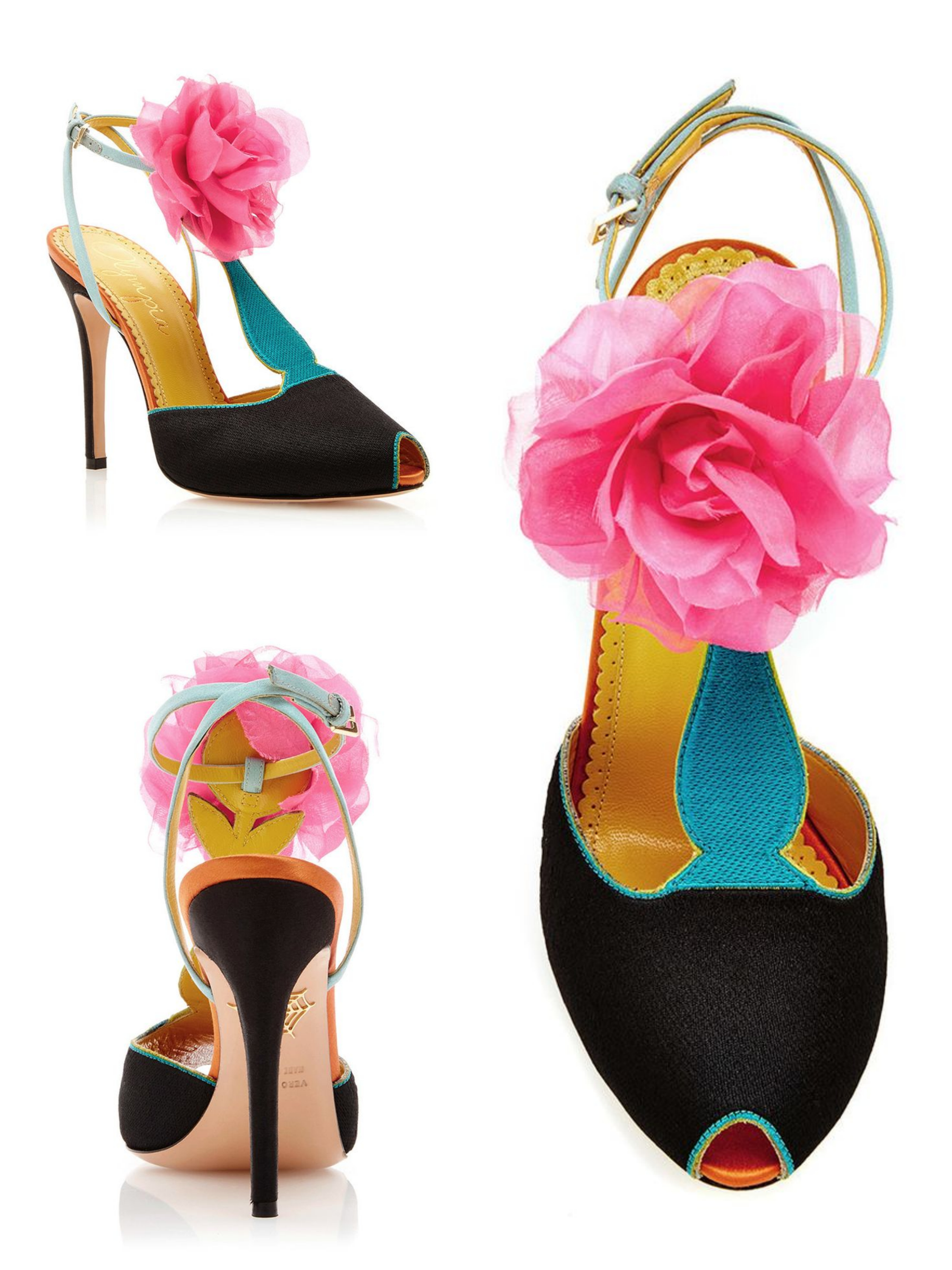 Charlotte Olympia, Silk Satin Amphora T Strap Heels with Floral Pom Pom