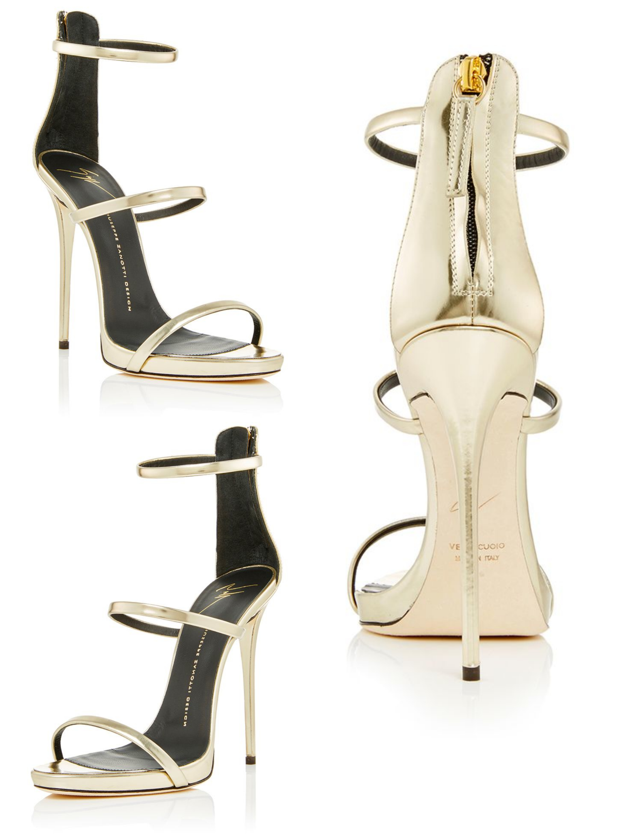 Giuseppe Zanotti, Shooting Platinum Three Strap Sandals