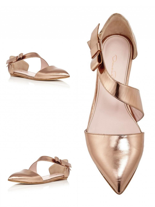 Oscar de la Renta, Copper Leather Harlet Flats